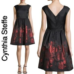 Cynthia Steffe Metallic Floral Fit-and-Flare Dress